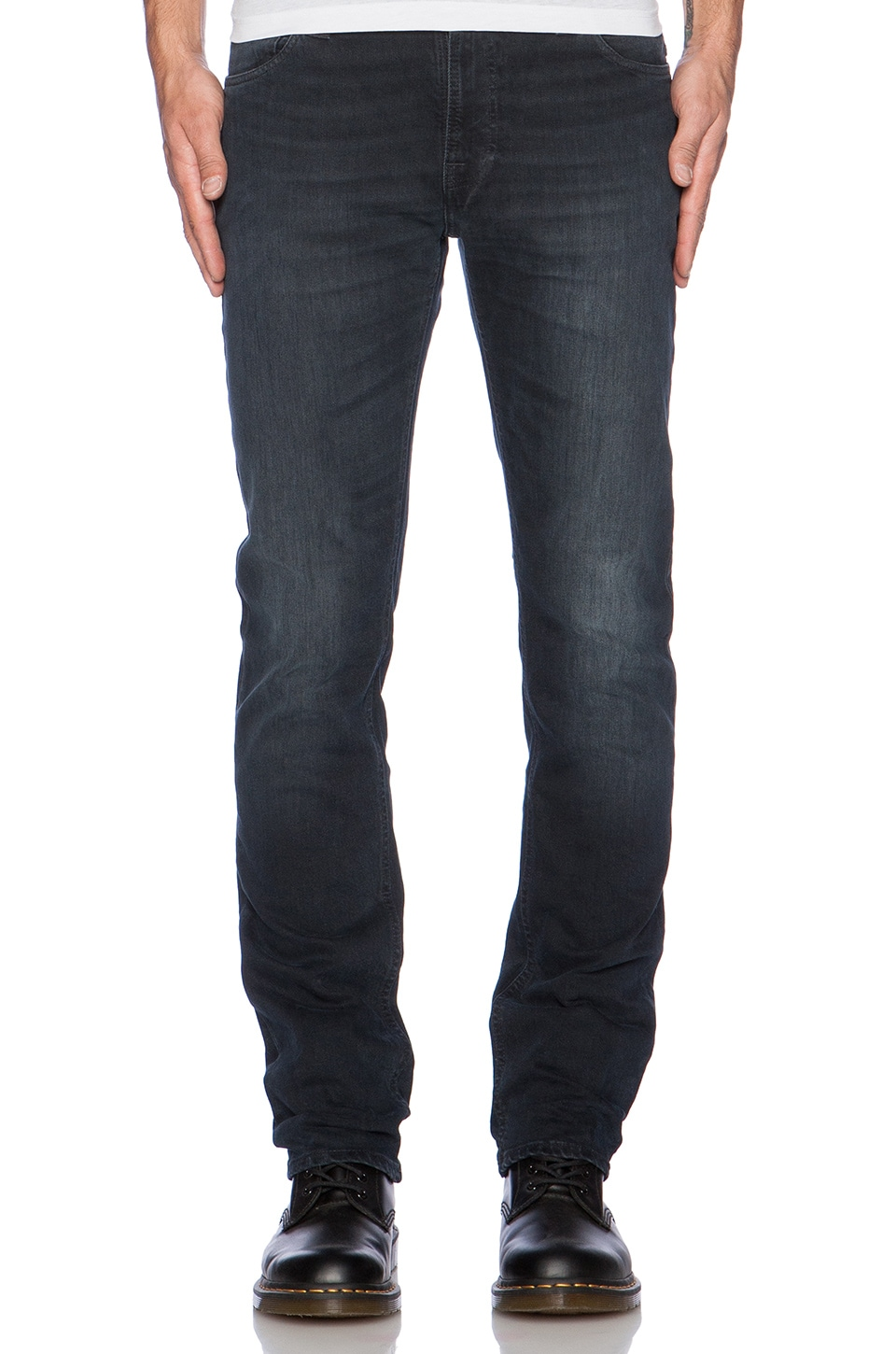 Nudie Jeans Thin Finn in Org. Black and Grey