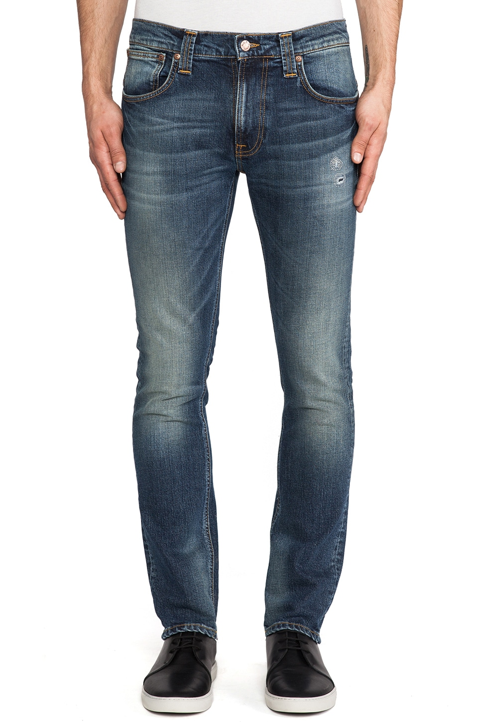 Nudie Jeans Tape Ted in Org. Clean Dark Blue