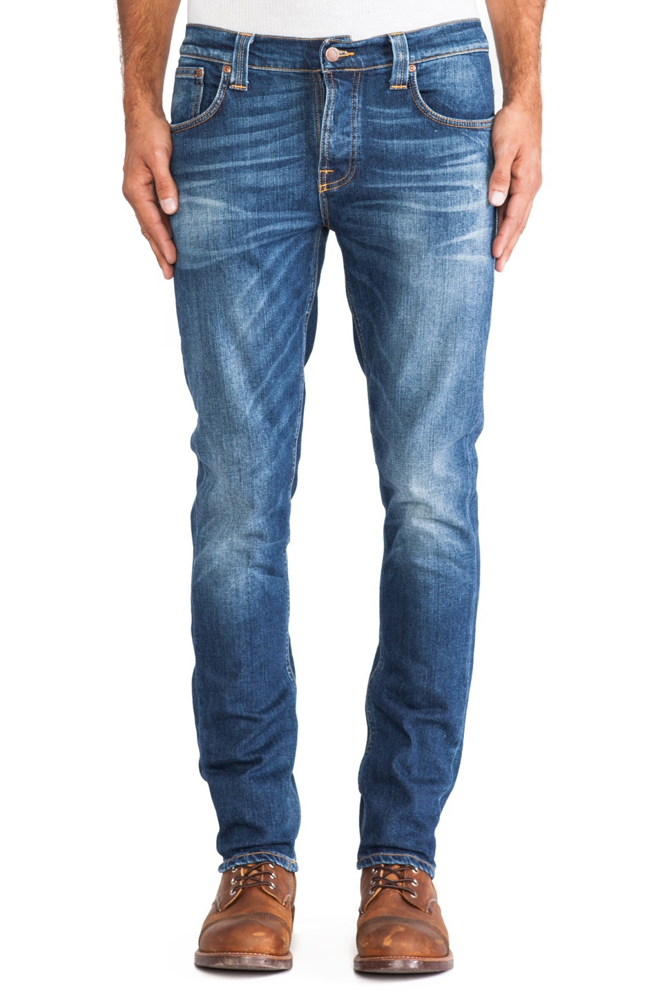 Nudie Jeans Grim Tim in Grey Worn Indigo