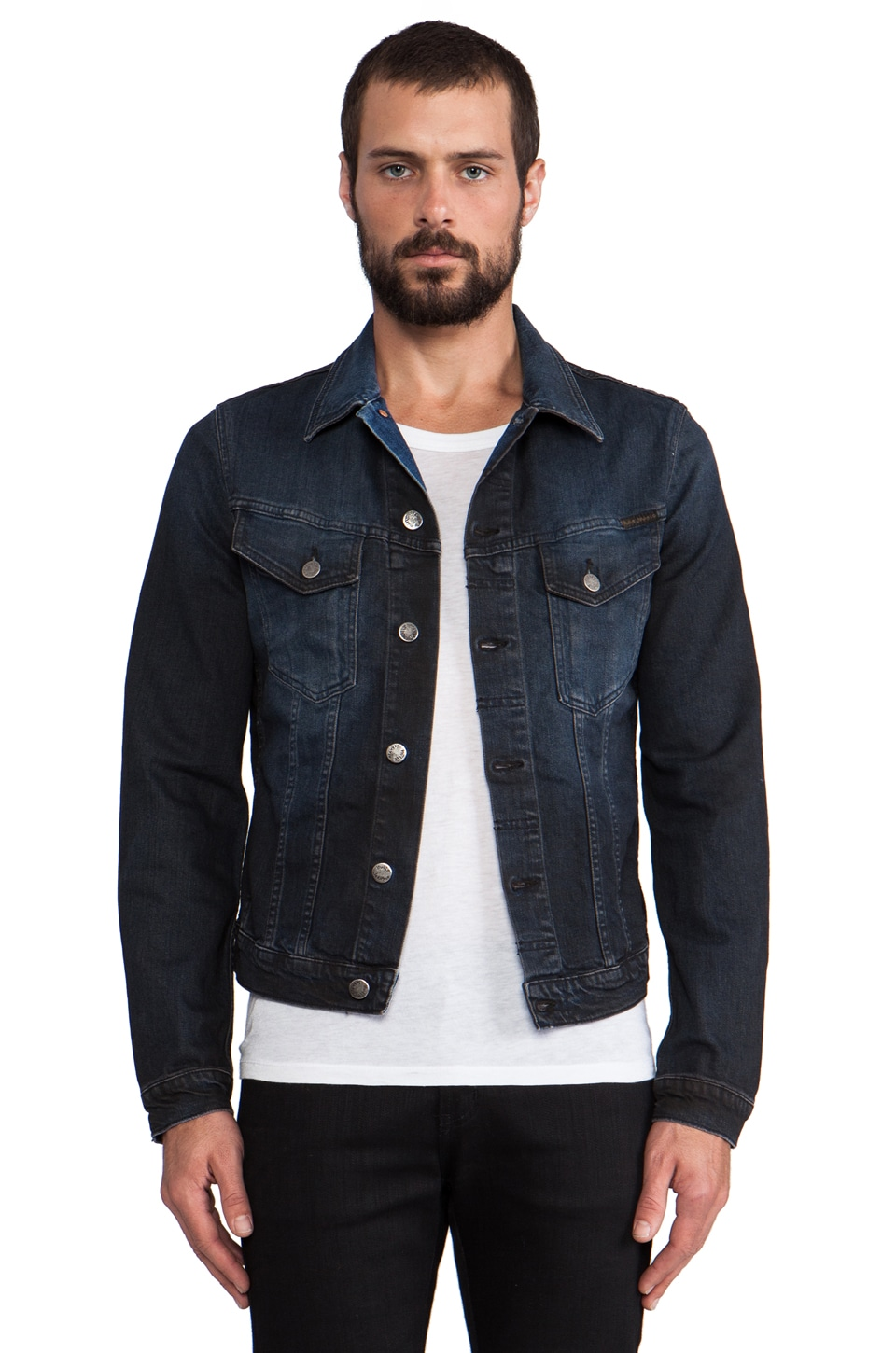 Nudie Jeans Perry Denim Jacket in Org. Black on Blue