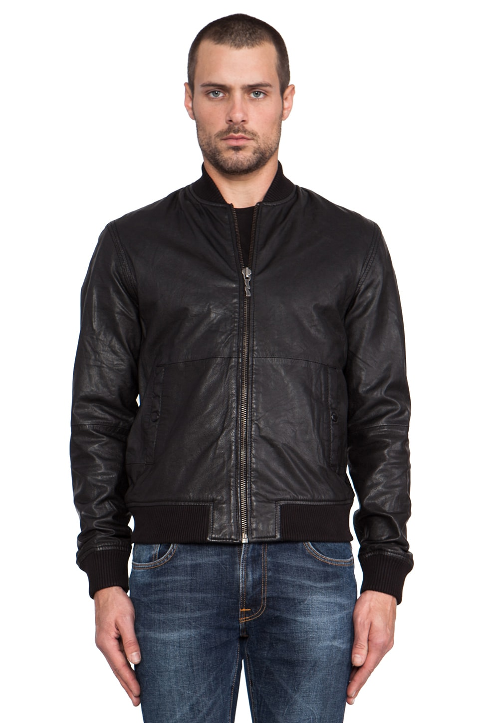 Nudie Jeans Cedric Bomber Leather Jacket in Black