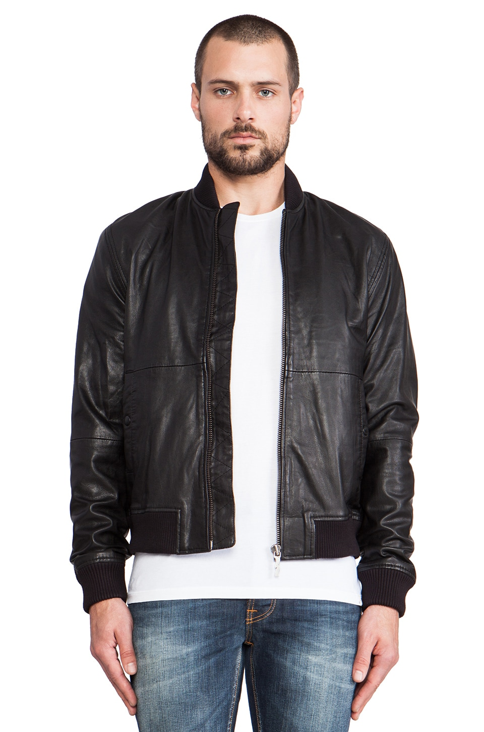 Nudie Jeans Cedrik Leather Bomber in Black