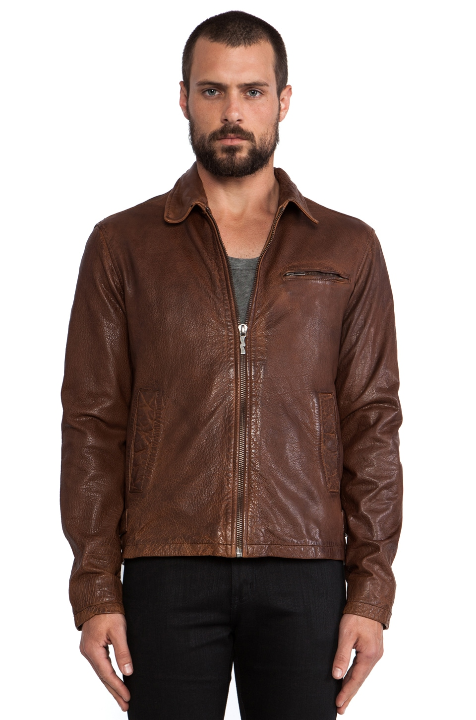 Nudie Jeans Ervin 50's Leather Jacket in Cognac