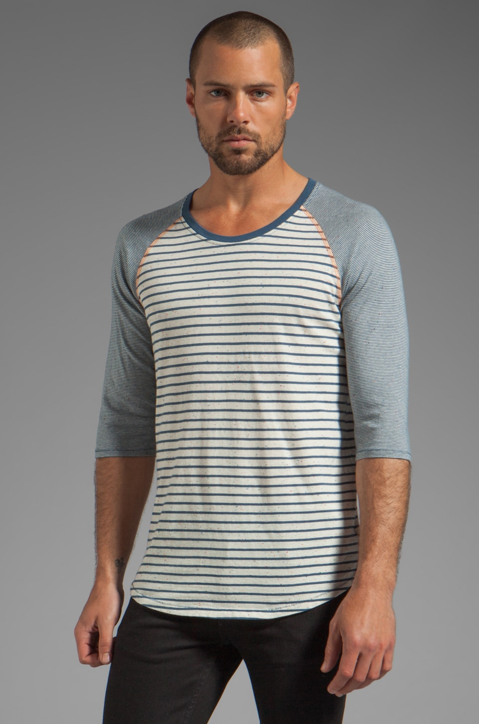 Nudie Jeans Quarter Sleeve Stripe Tee in Blue Off White