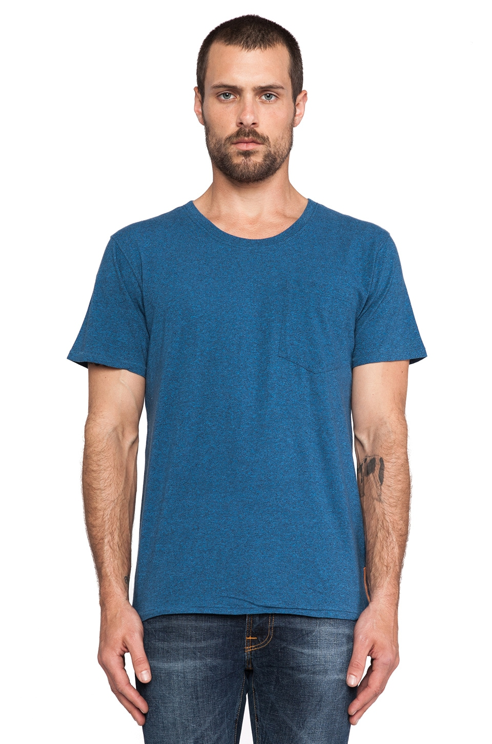 Nudie Jeans Roundneck Pocket Tee in Bluemelange