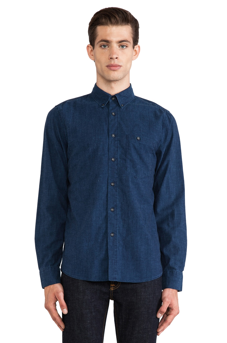 Nudie Jeans Stanley Shirt in Org. Deep Blue