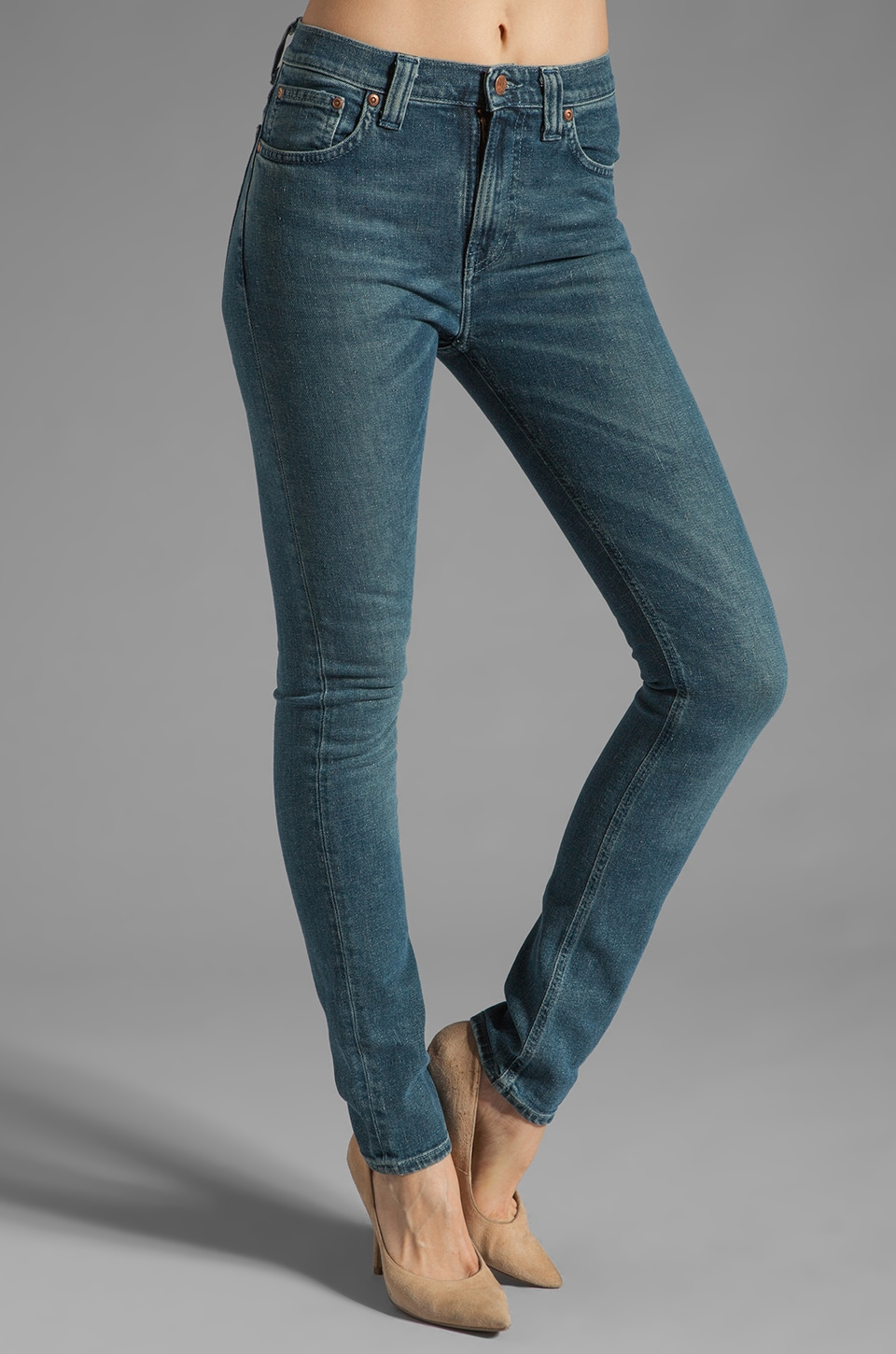Nudie Jeans High Kai in Organic Worn Twill