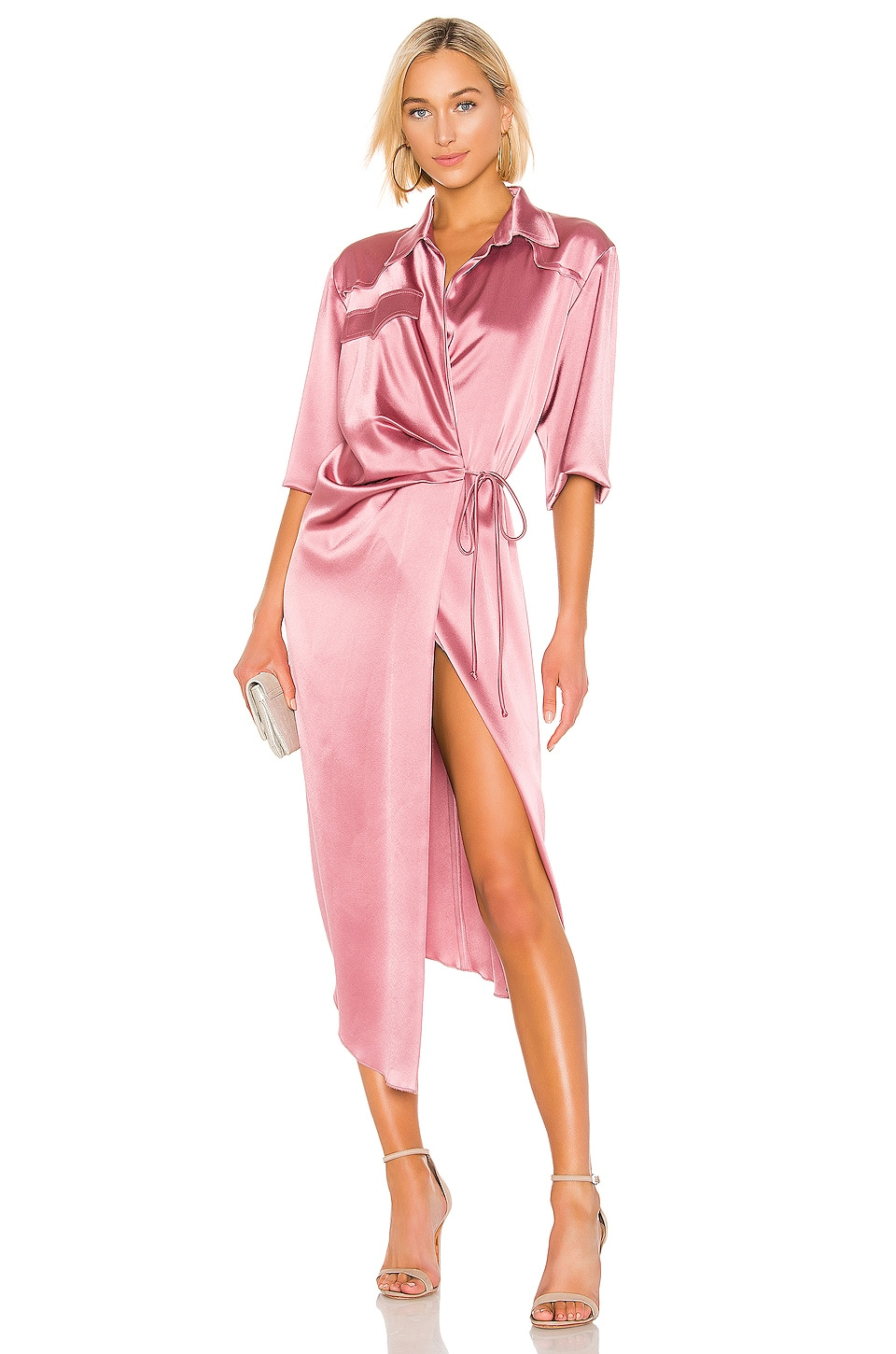 Nanushka Lais Wrap Dress in Rose