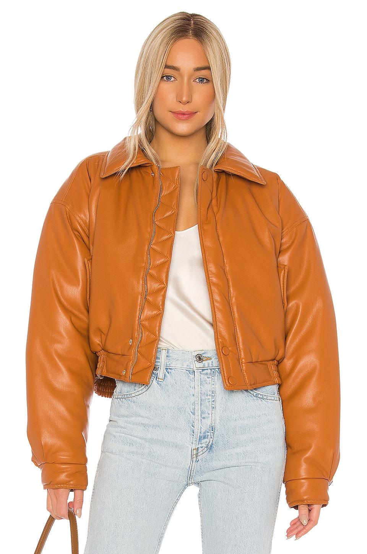 Nanushka Bomi Faux Leather Bomber Jacket in Burnt Orange