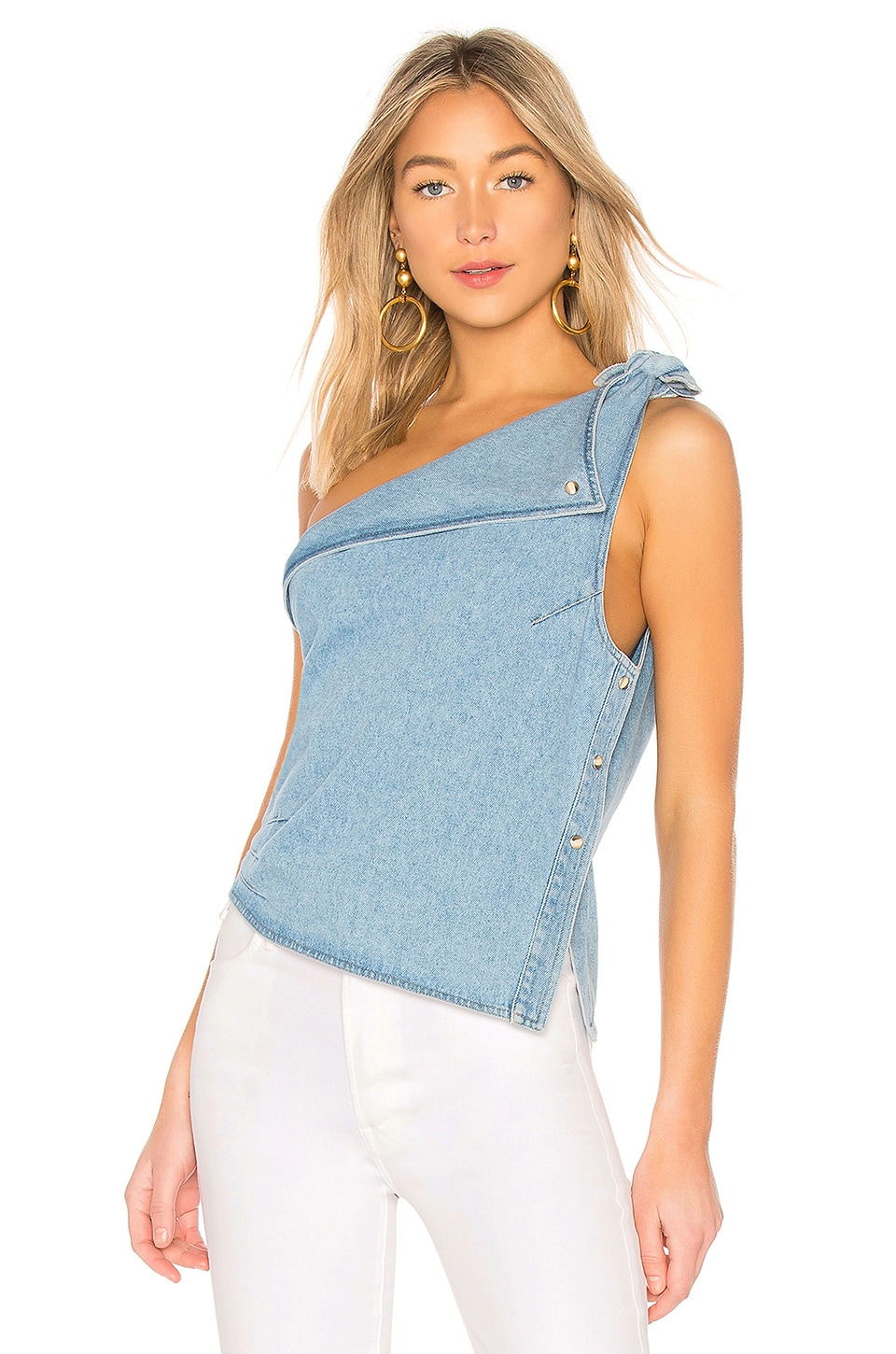 Nanushka Ulya Top in Washed Blue