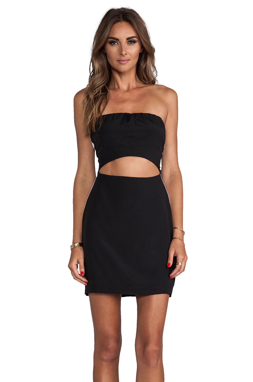 Naven Neon Collection Sporty Tube Cutout Dress in Black/White