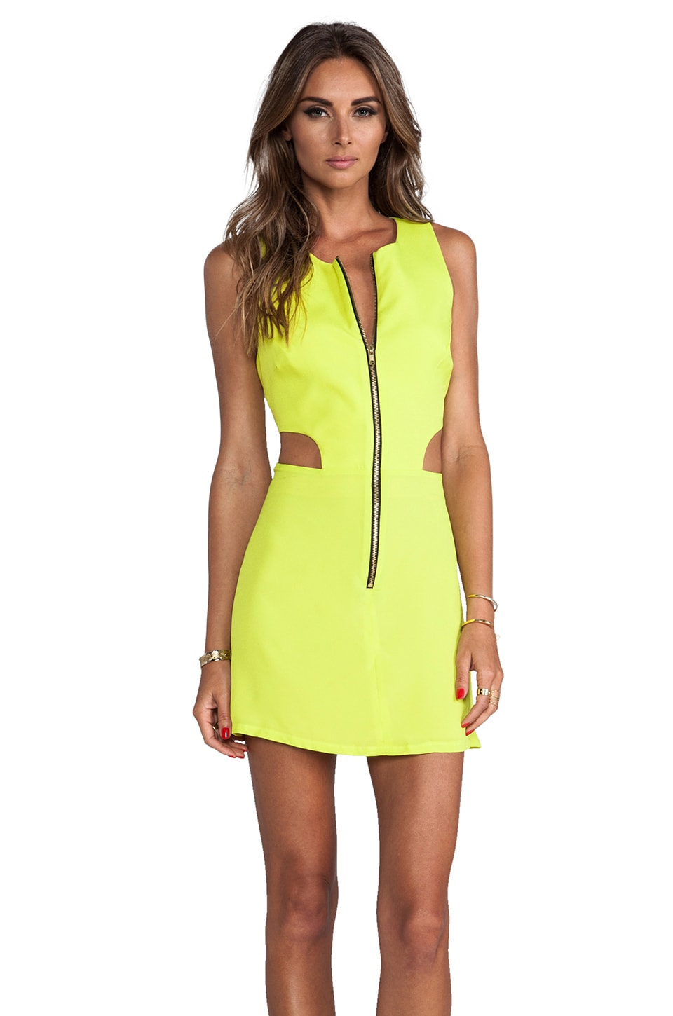 Naven Retro Cutout Dress in Chartreuse