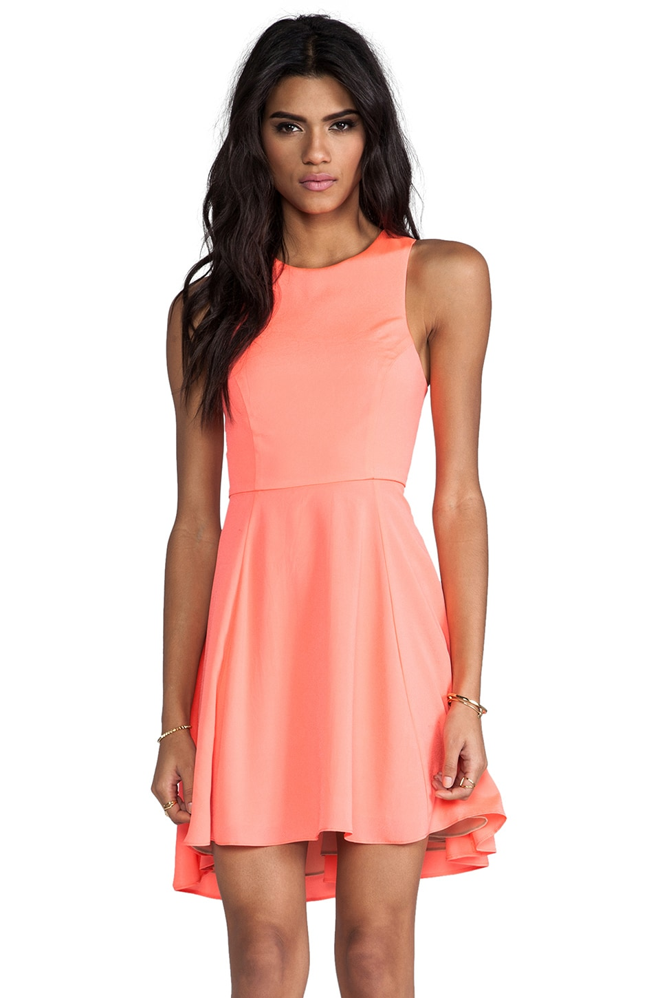 Naven EXCLUSIVE Jackie Circle Skirt Dress in Neon Coral