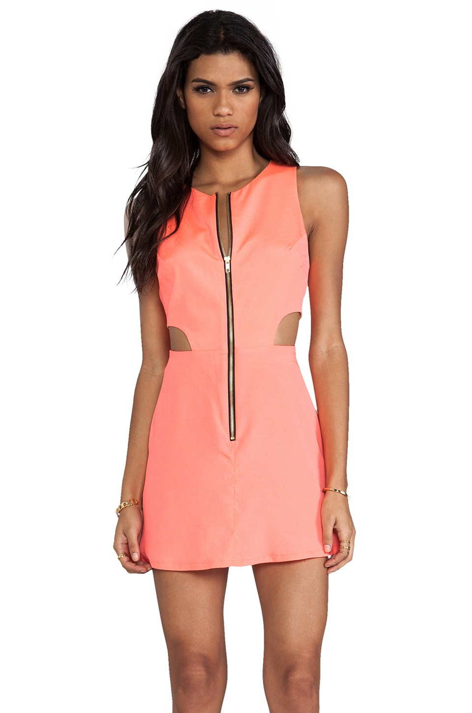 Naven Retro EXCLUSIVE Cutout Dress in Neon Coral