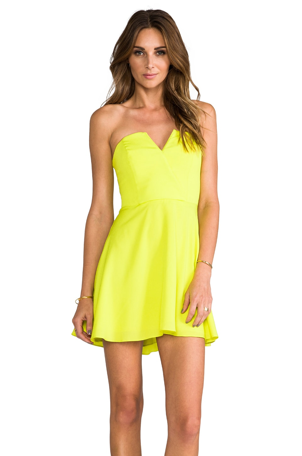 Naven Bombshell Circle Skirt Dress in Chartreuse