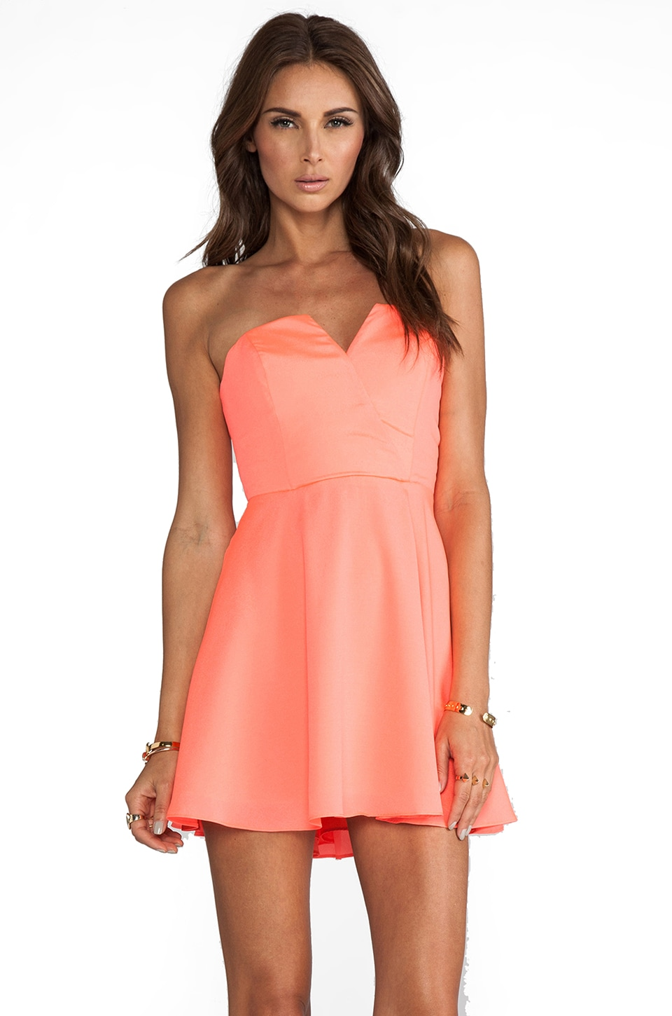 Naven Bombshell Circle Dress in Neon Coral