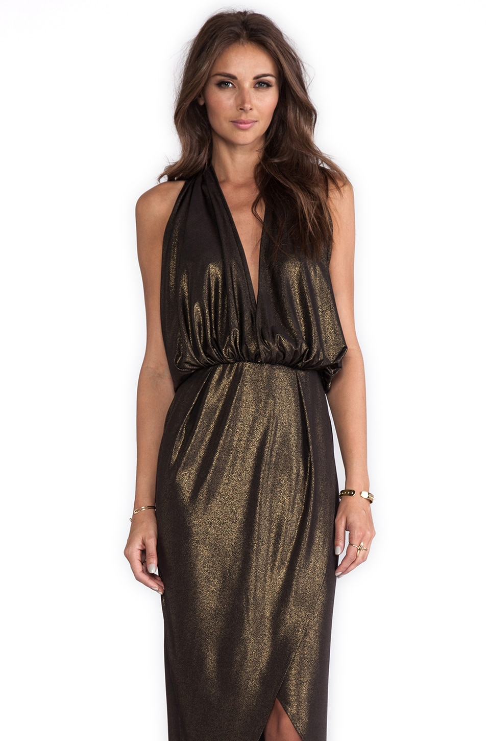 Naven Glam Halter Dress in Knit Lame/Metallic Gold