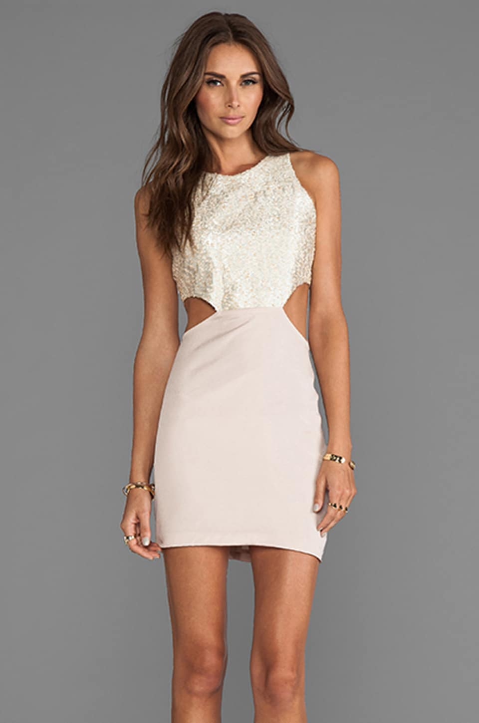 Naven 2 Tone Cut Out Dress in Taupe Shimmer/Taupe