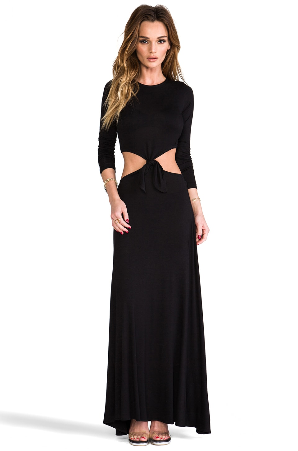 Naven Casuals Long Sleeve Knotted Maxi Dress in Black