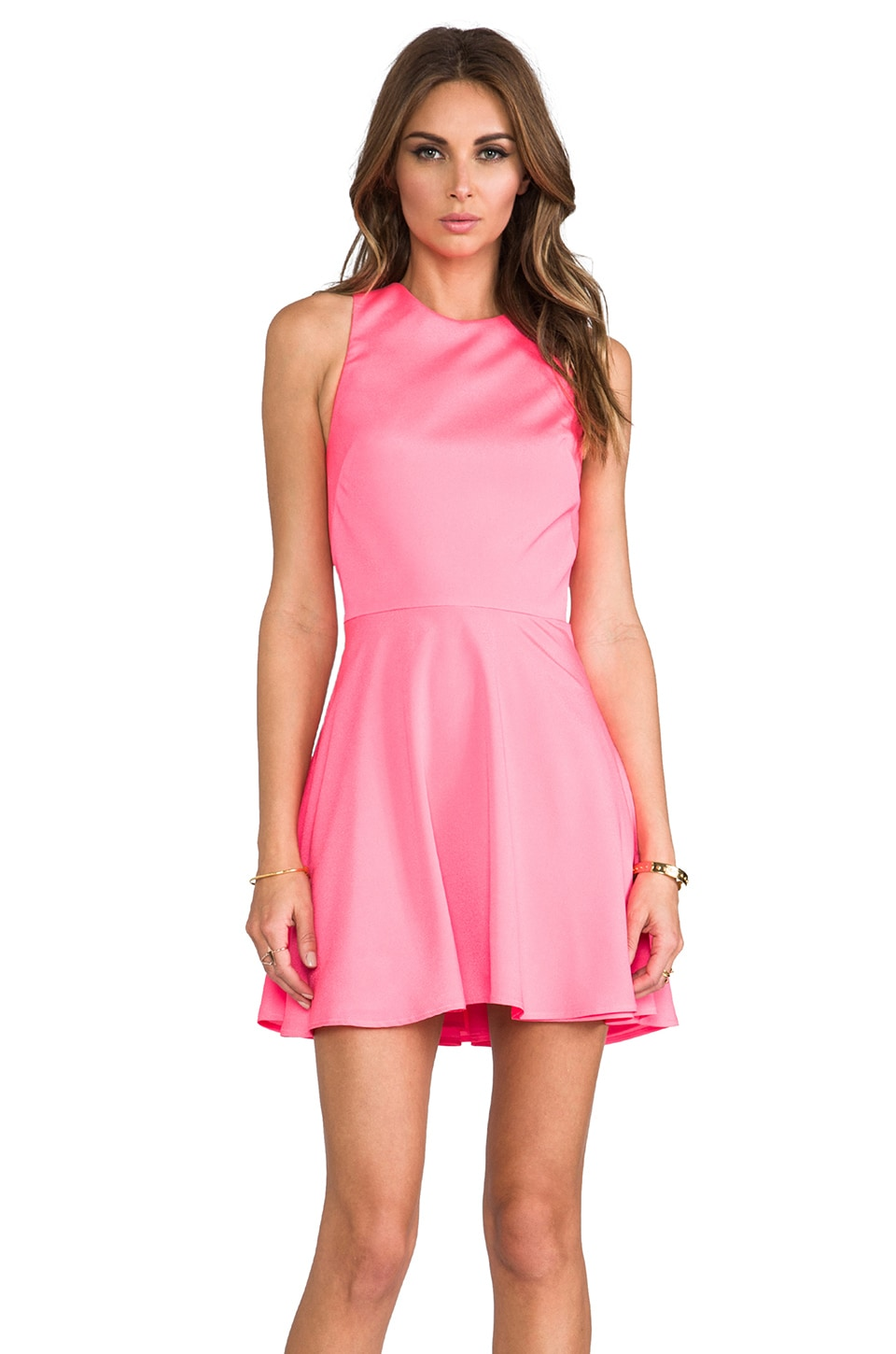 Naven Twisted Circle Dress in Neon Pink