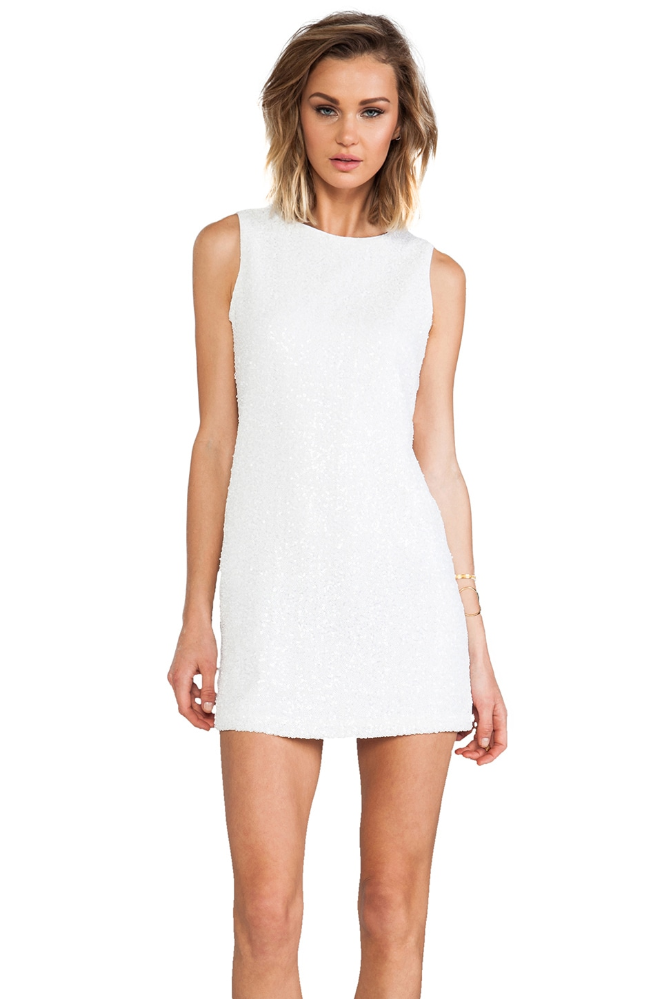 Naven Sequin Twiggy Dress in White Sequin