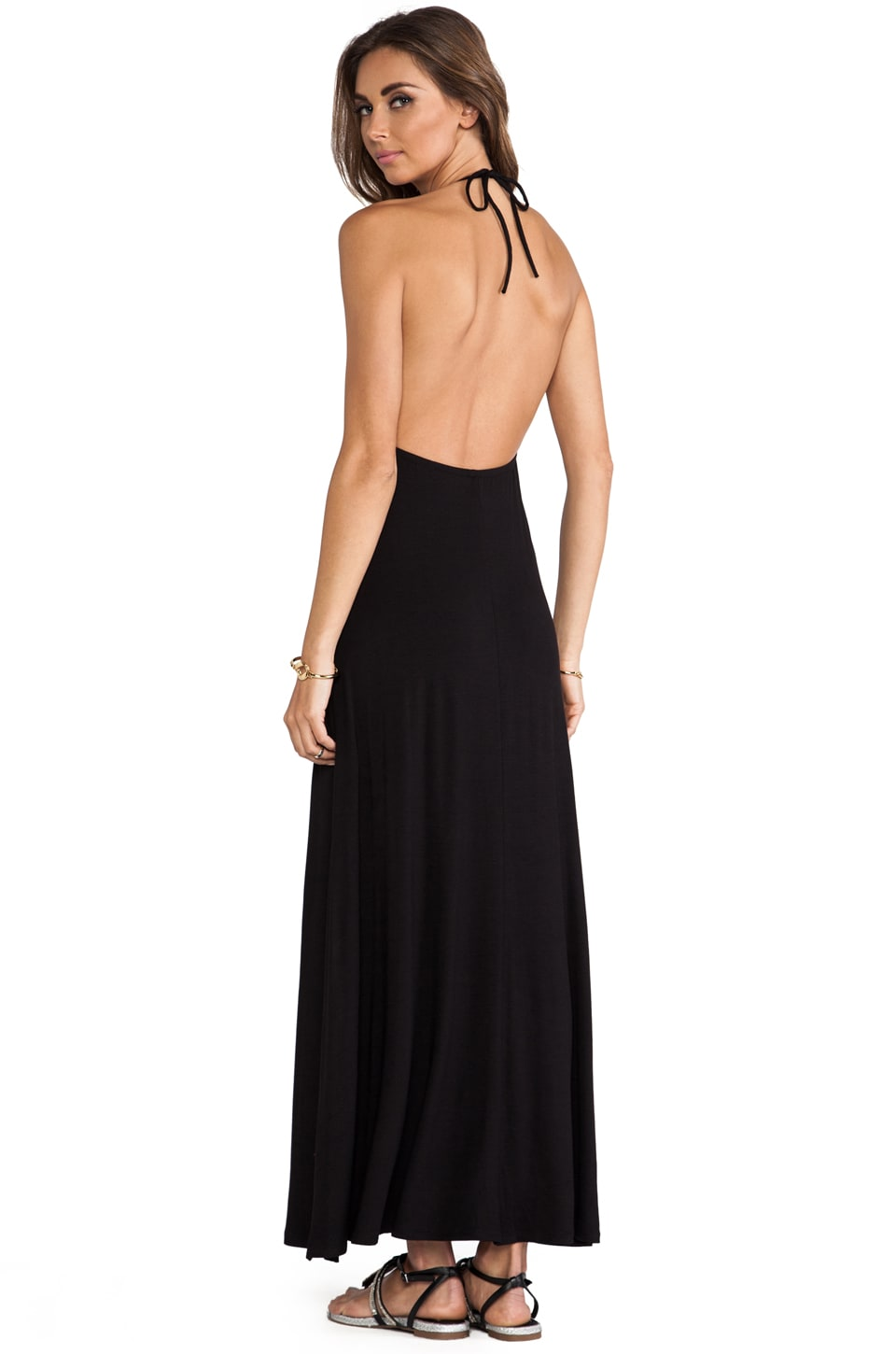 Naven Halter Cut Out Maxi Dress in Black