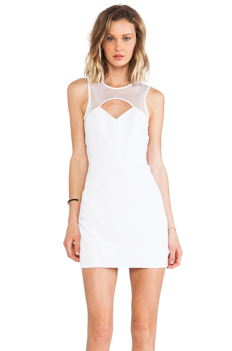 Naven Mesh Cutout Dress in White