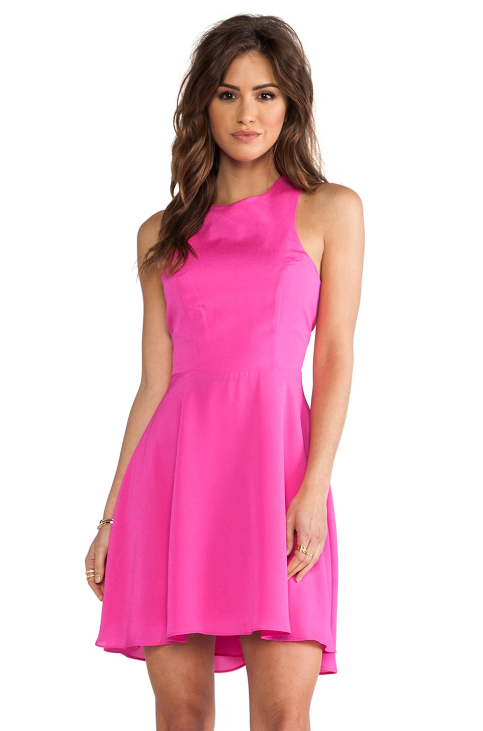 Naven EXCLUSIVE Jackie Circle Skirt Dress in Pop Pink