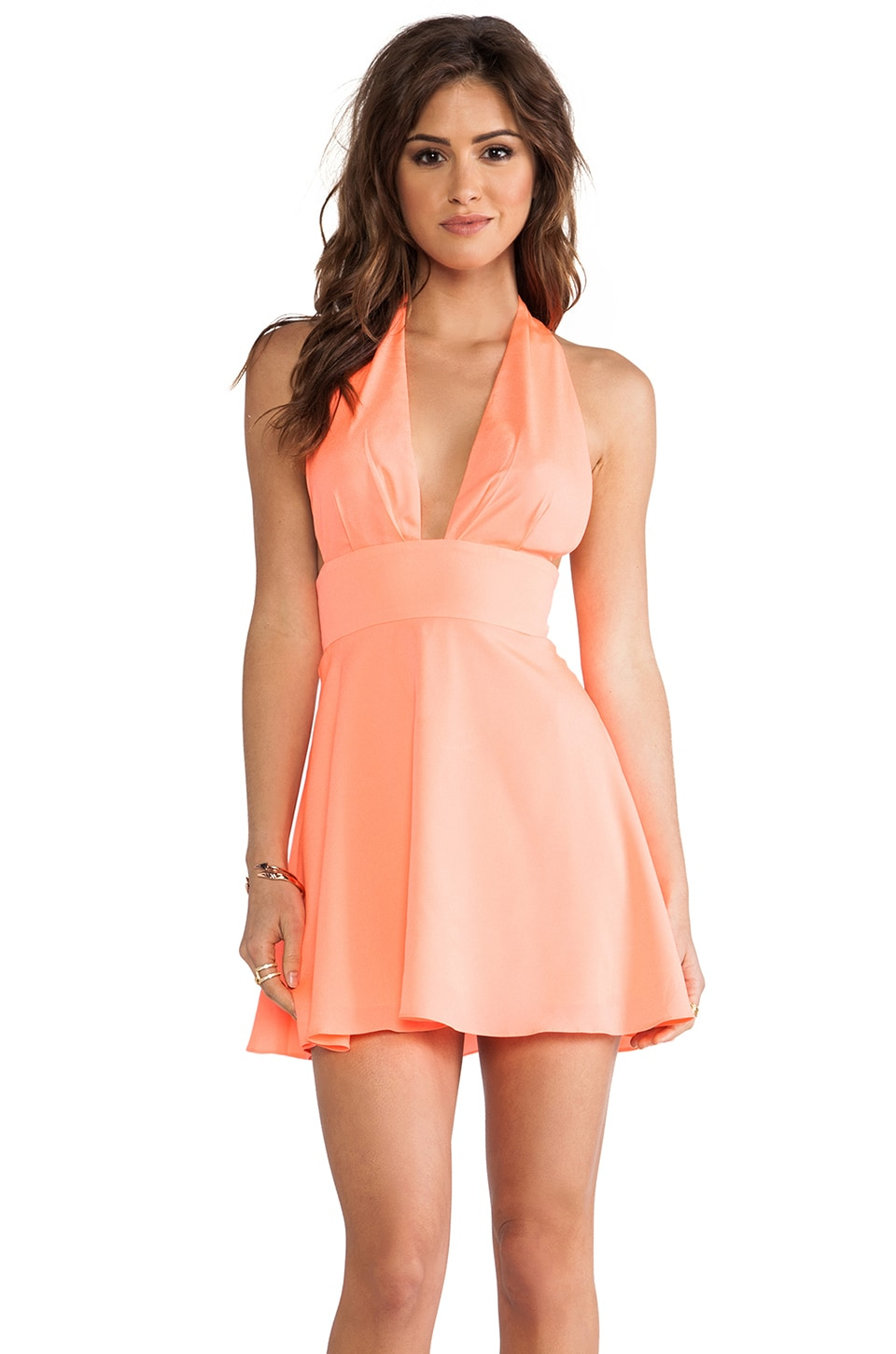 Naven Deep V Circle Mini Dress in Neon Coral