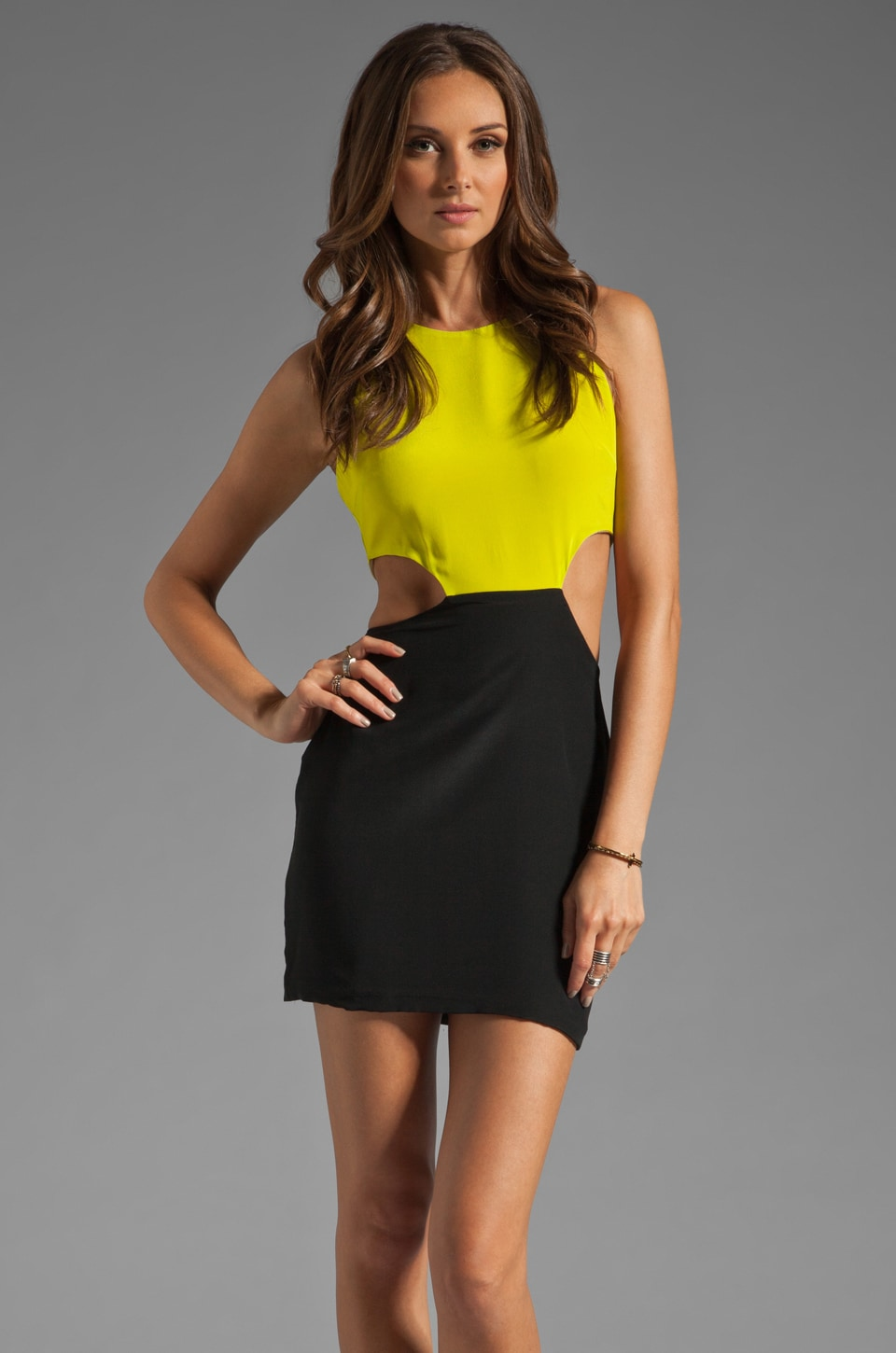 Naven 2 Tone Cutout Dress in Chartreuse/Black