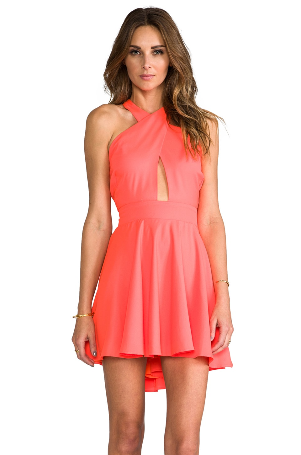 Naven Criss Cross Vixen Dress in Neon Peach