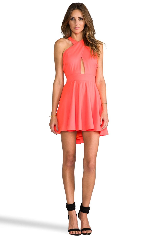 Naven Criss Cross Vixen Dress in Neon Peach