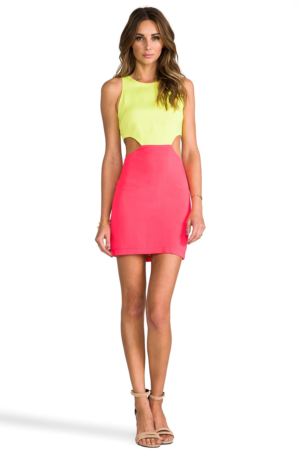 Naven 2 Tone Cutout Dress in Neon Yellow/Neon Salmon