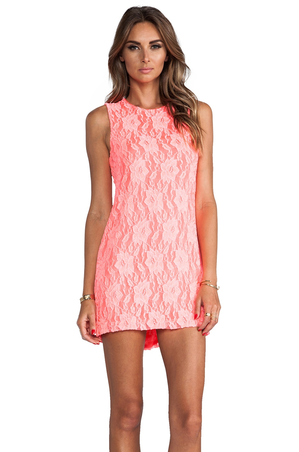 Naven Twiggy Dress in Neon Salmon Lace