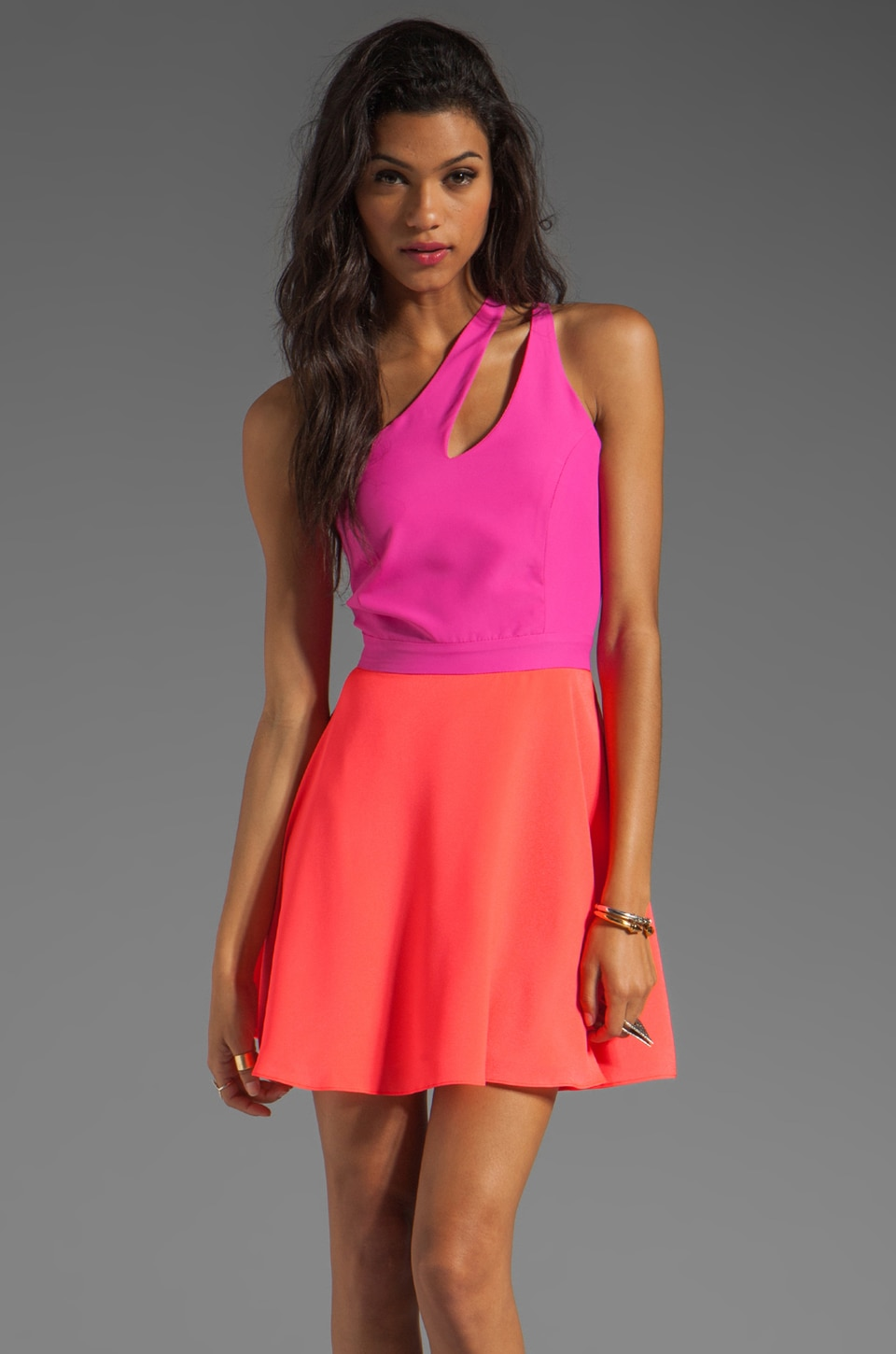 Naven 2 Tone Bella Circle Dress in Pop Pink/Neon Salmon