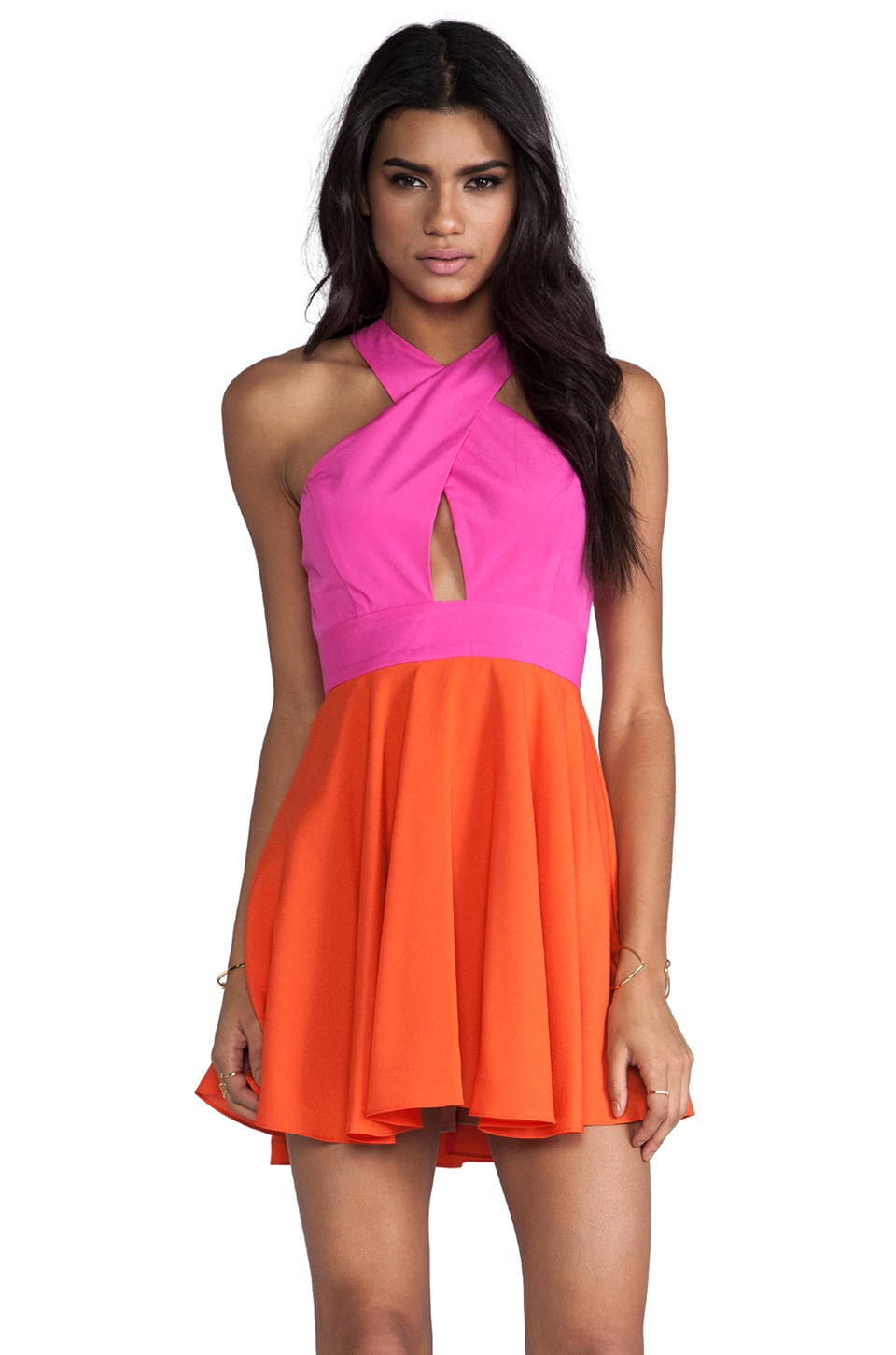 Naven EXCLUSIVE Two-Tone Criss Cross Vixen Dress in Pop Pink/Orange Crush