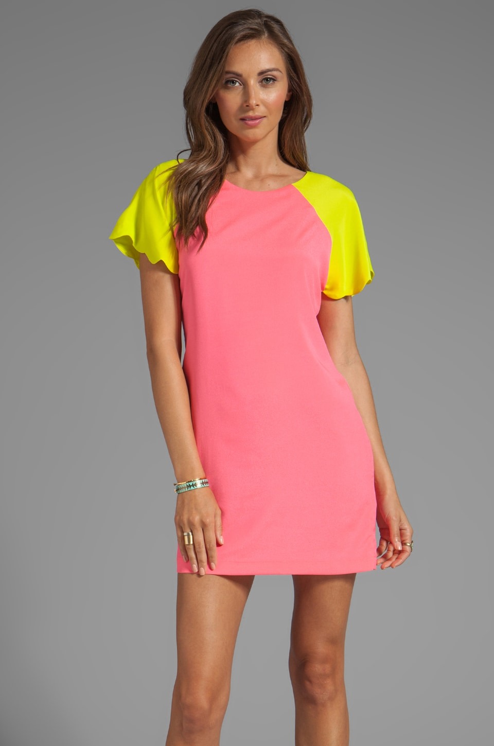 Naven Neon Collection Scalloped Dress in Neon Pink/Chartreuse