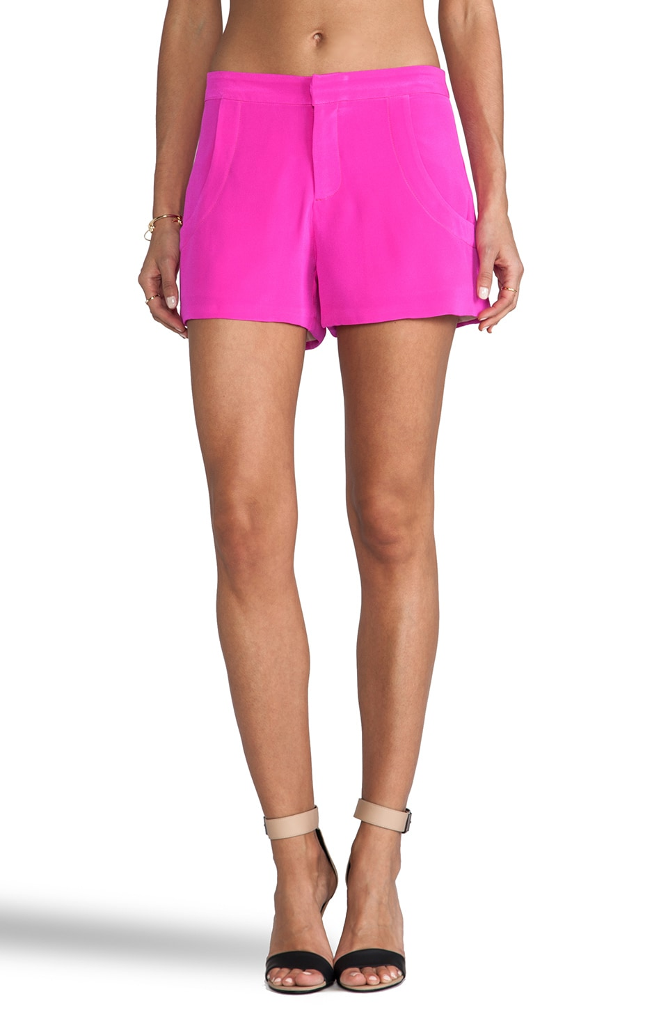Naven Designer Tuxedo Shorts in Pop Pink