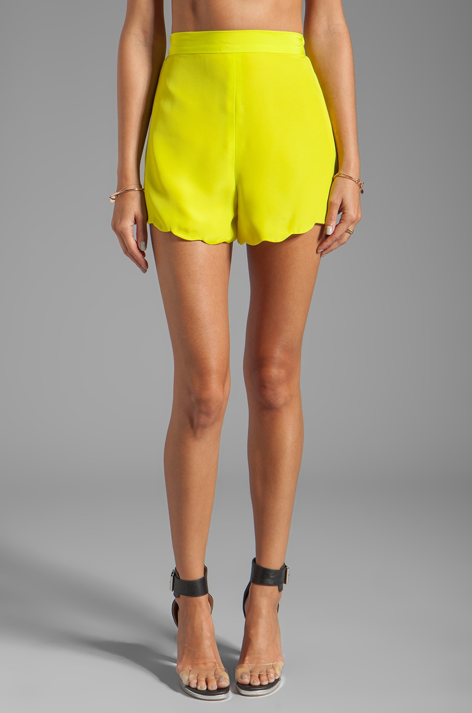 Naven Neon Collection Scalloped Short in Chartreuse