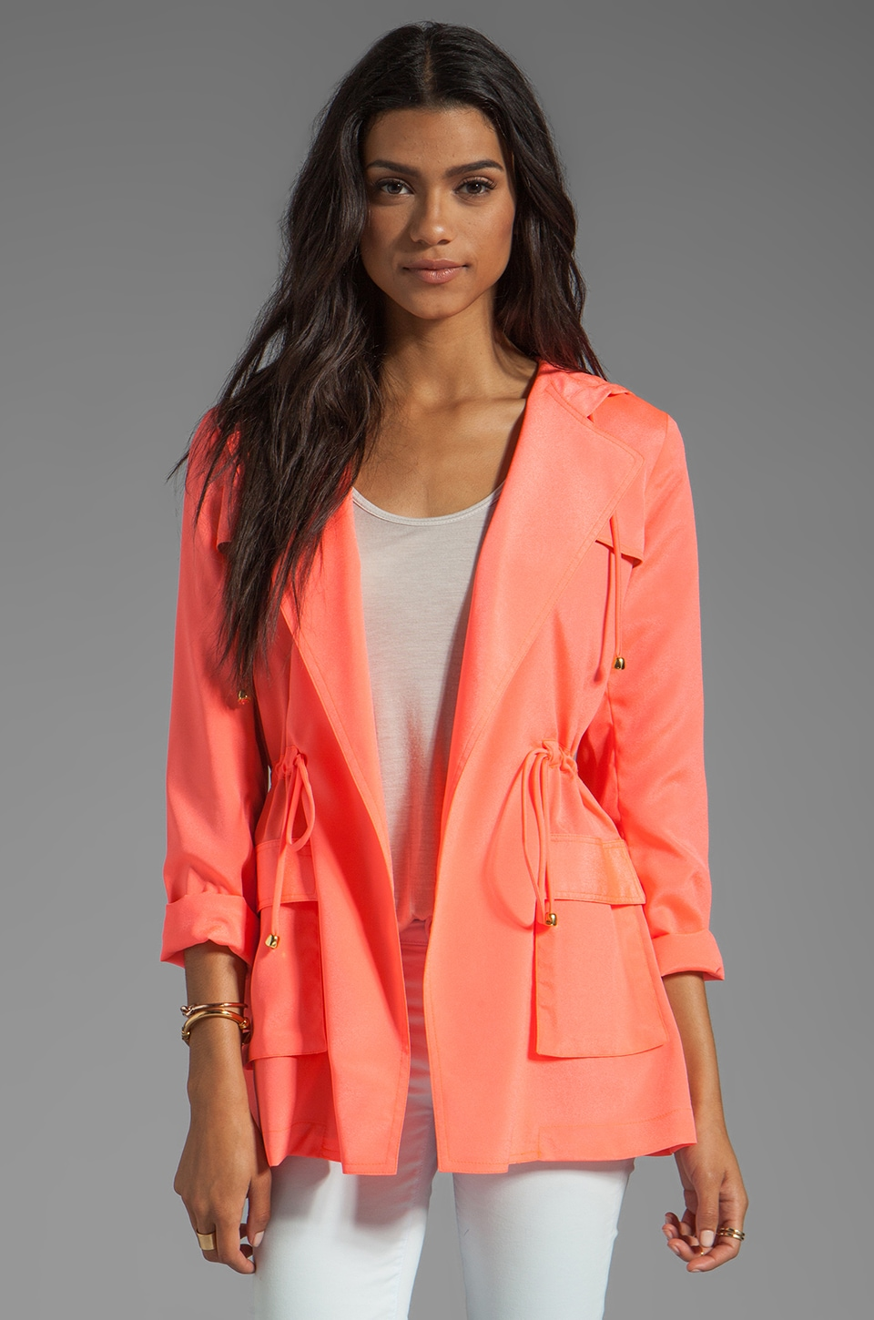 Naven Hooded Cargo Jacket in Neon Salmon