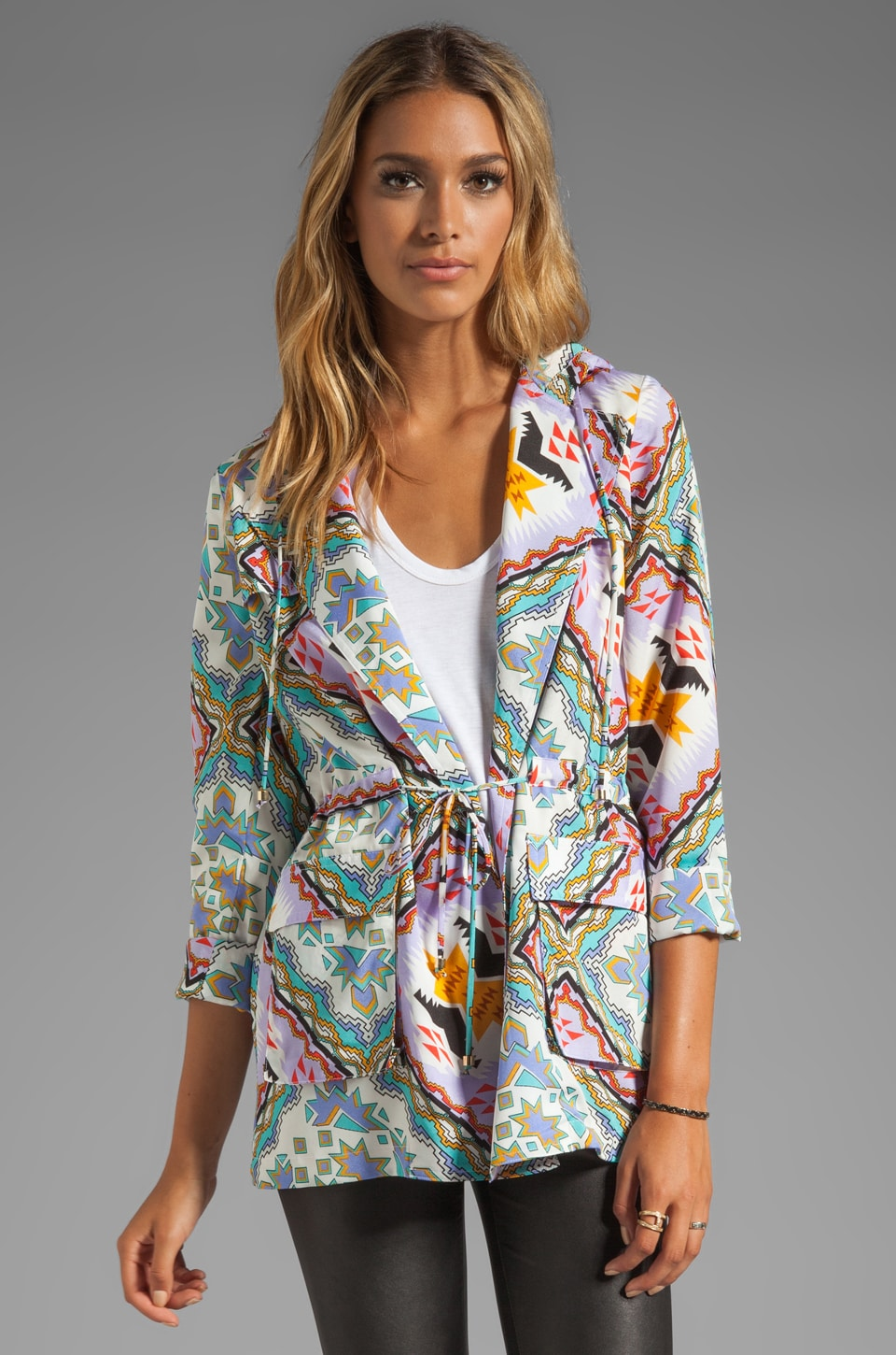Naven Neon Collection Hooded Cargo Jacket in Pastel Aztec