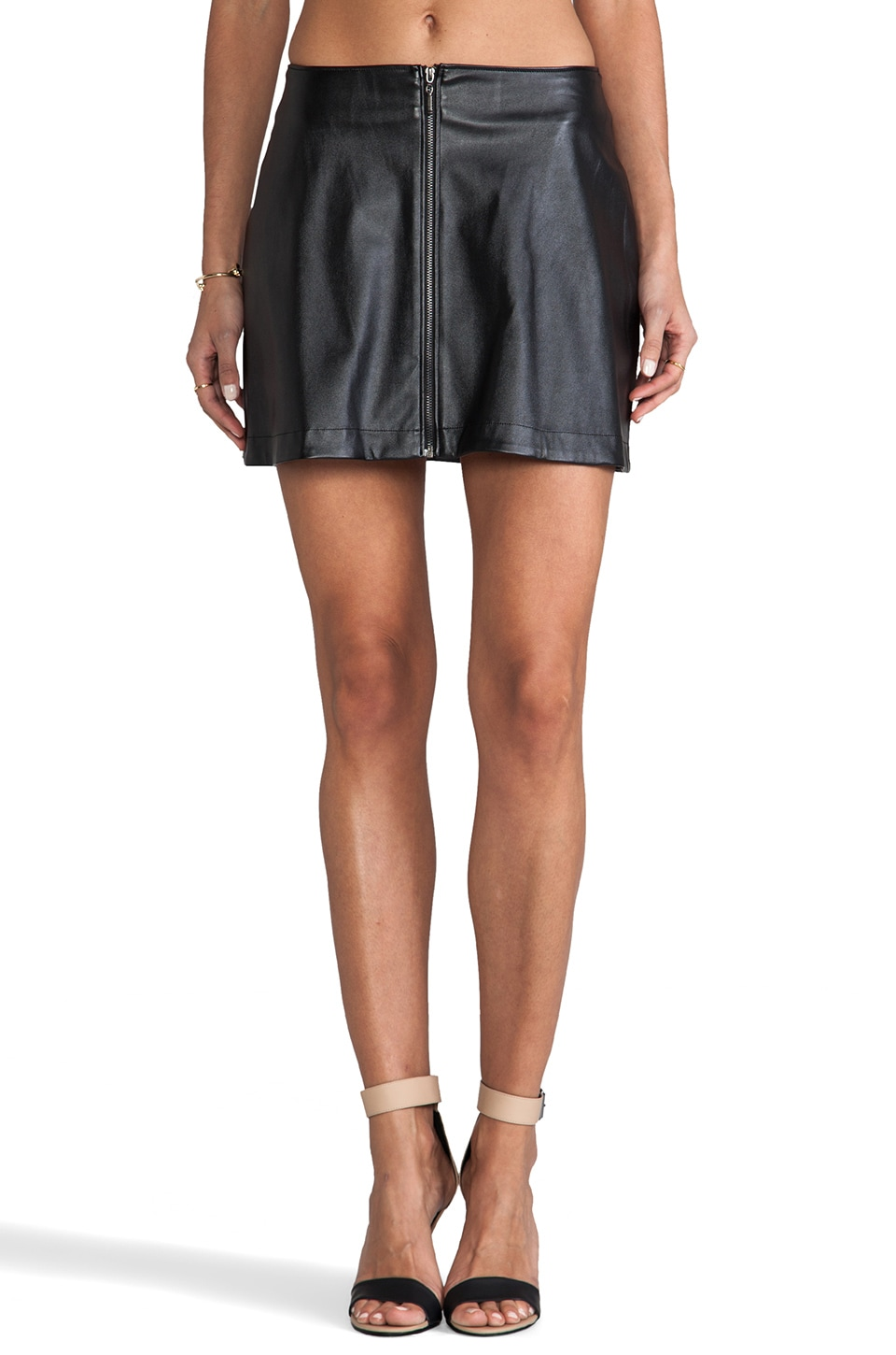 Naven Faux Leather Mod Skirt in Black