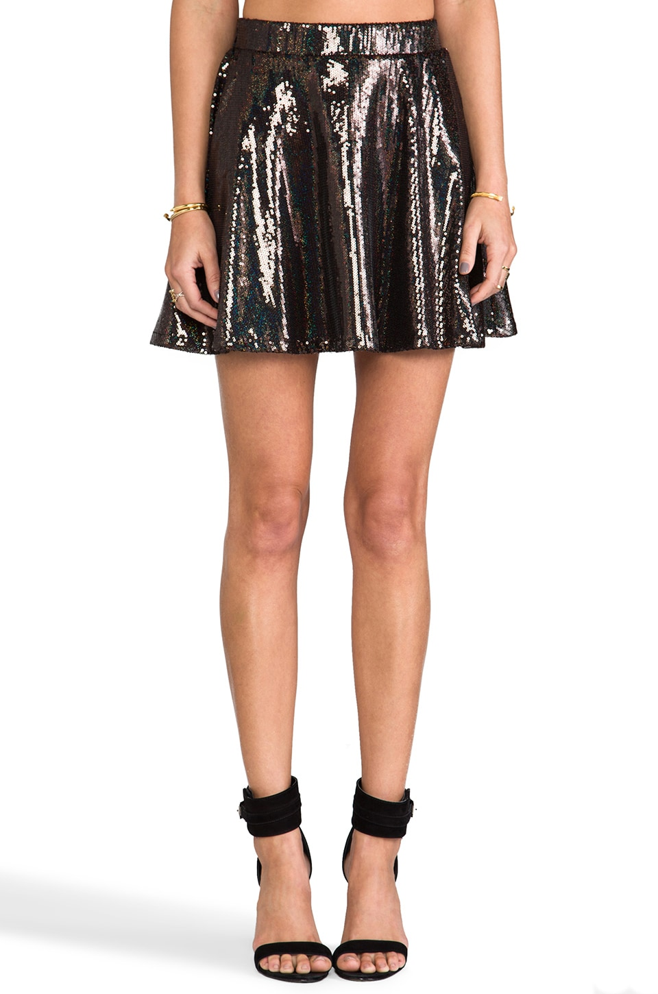 Naven Circle Mini Skirt in Sequin/Black