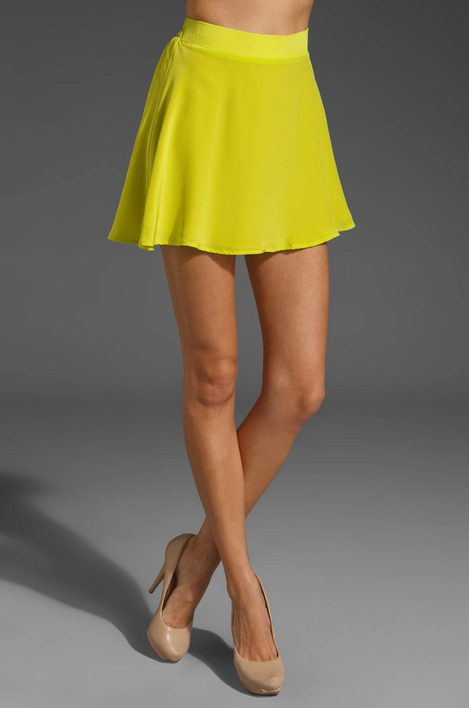 Naven Circle Mini Skirt in Chartreuse