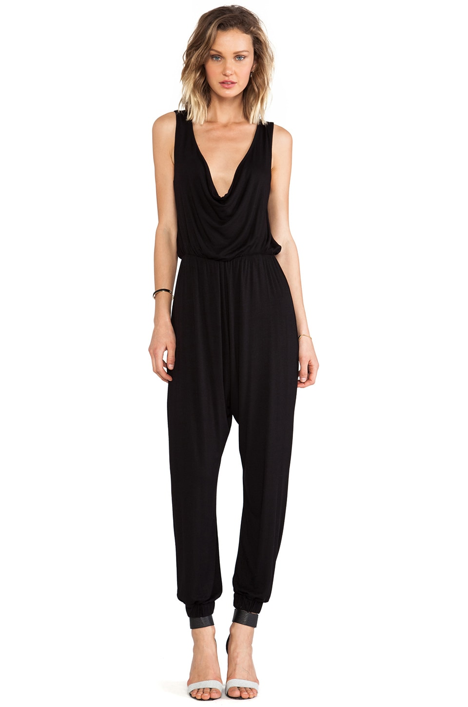 Naven Cowl Neck Reversible Jumpsuit in Black
