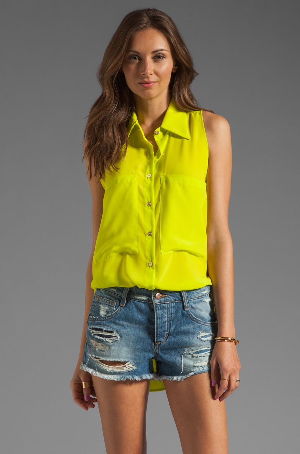 Naven Sleeveless Bardot Blouse in Chartreuse