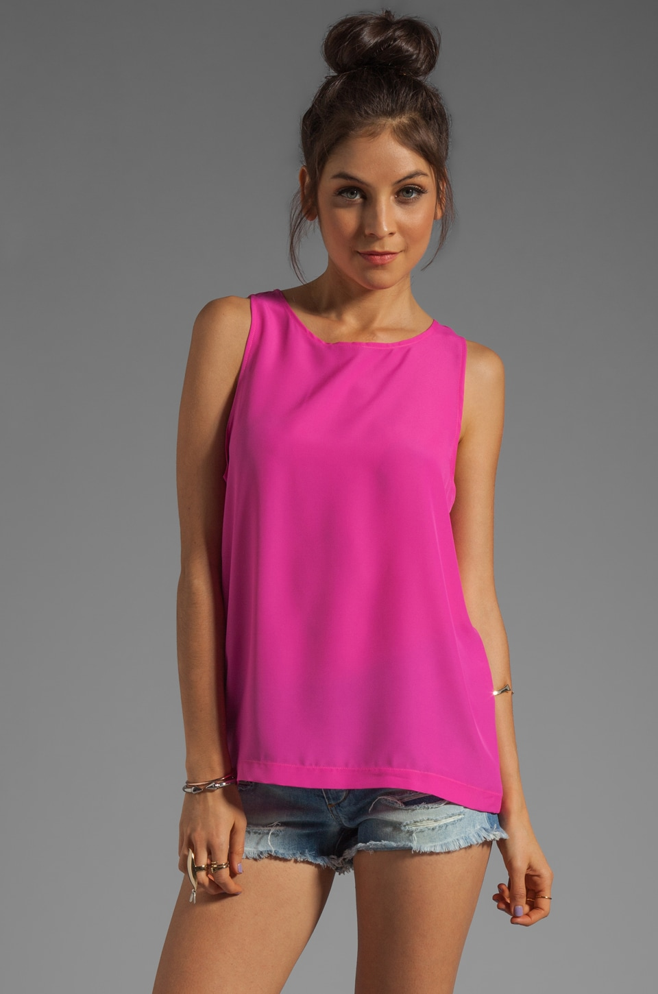 Naven Long Muscle Tank in Pop Pink