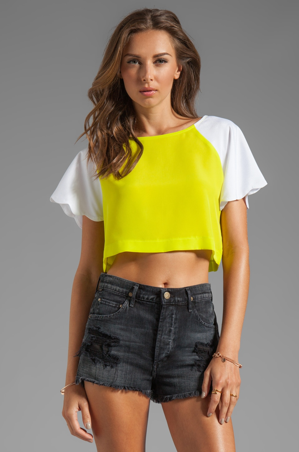 Naven Neon Collection Scalloped Crop Top in Chartreuse/White