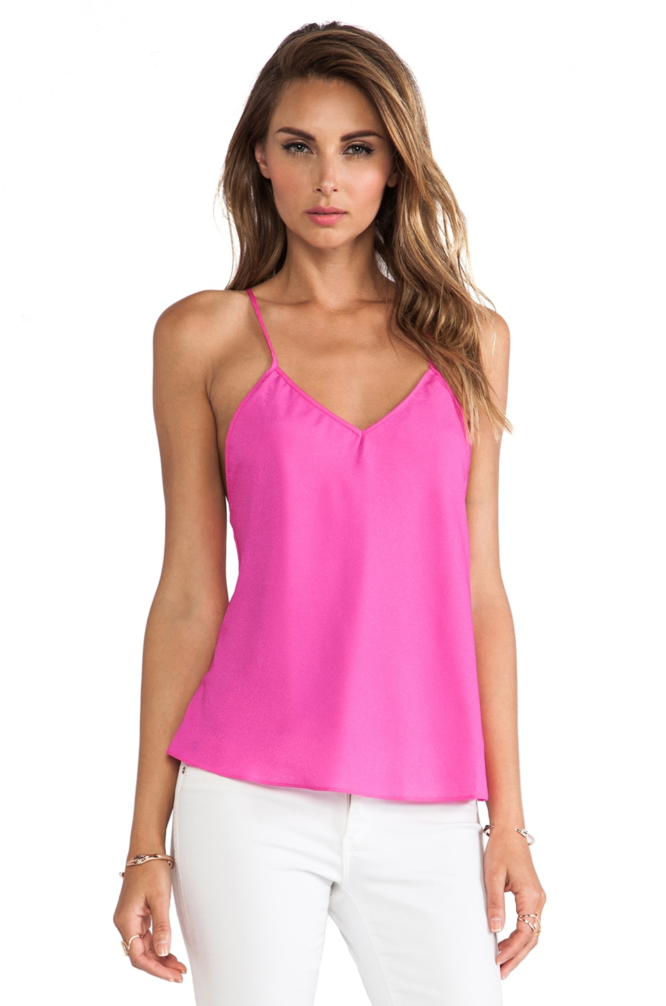 Naven V Neck Baby Doll Top in Pop Pink