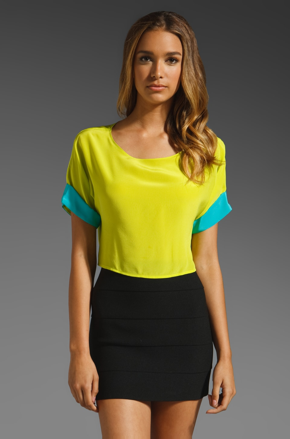 Naven Kimono Crop Top in Chartreuse/Turquoise